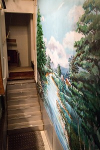 Bethany Baptist Church baptistry painting view from steps on rig