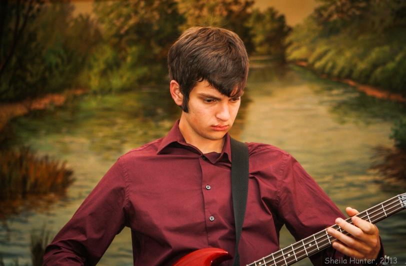 Daniel playing bass at Wakefield Baptist Church