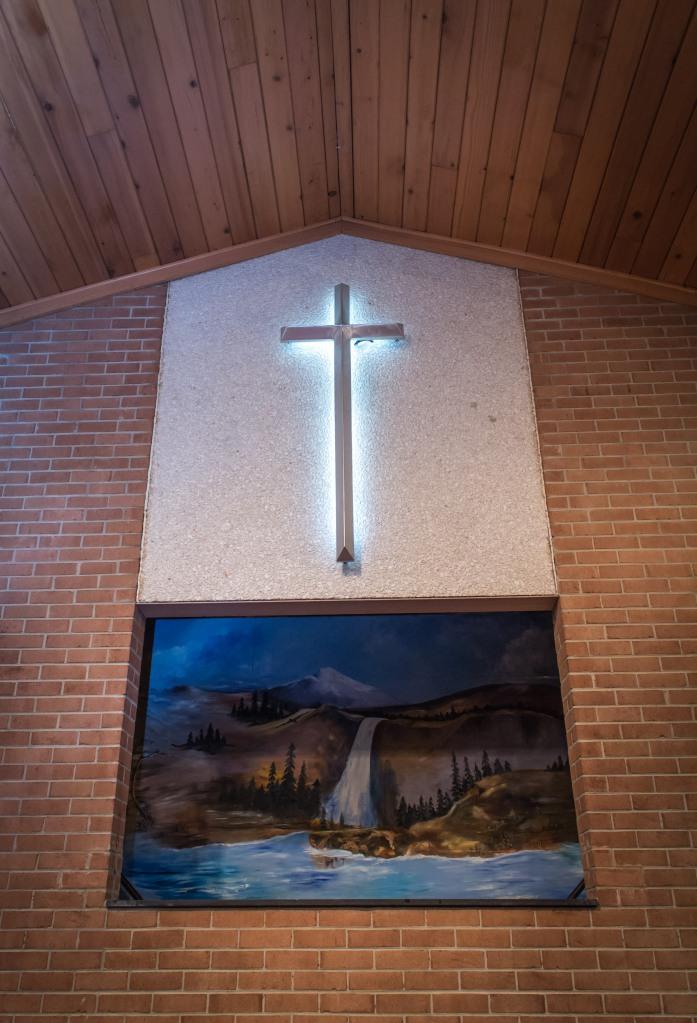 Looking up at the baptistry painting at UCMBC