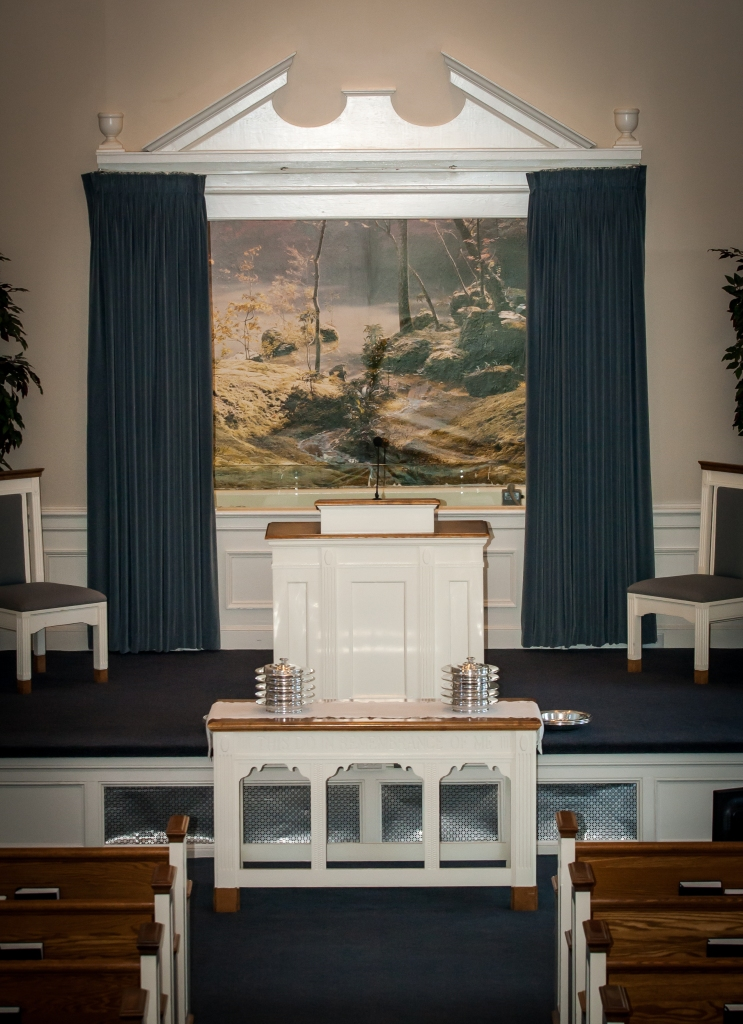 South Fork Church of Christ baptistry mural from the balcony