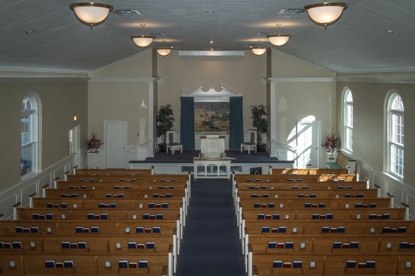 South Fork Church of Christ baptistry mural view from the balcon