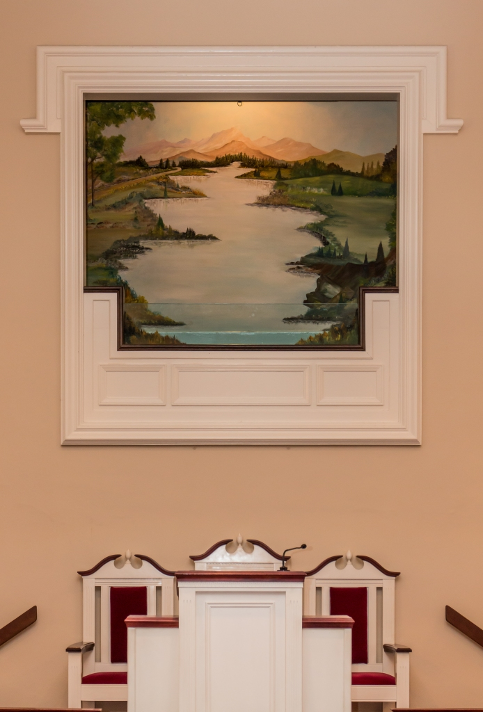 Jersey Baptist Church baptistry from the aisle