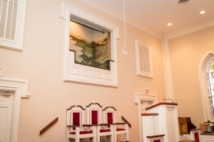 Jersey Baptist Church baptistry from the left