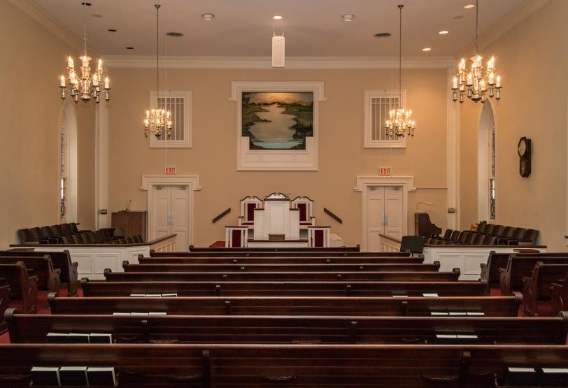 Jersey Baptist Church baptistry from the rear