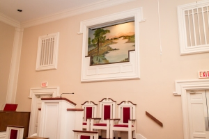 Jersey Baptist Church baptistry from the right