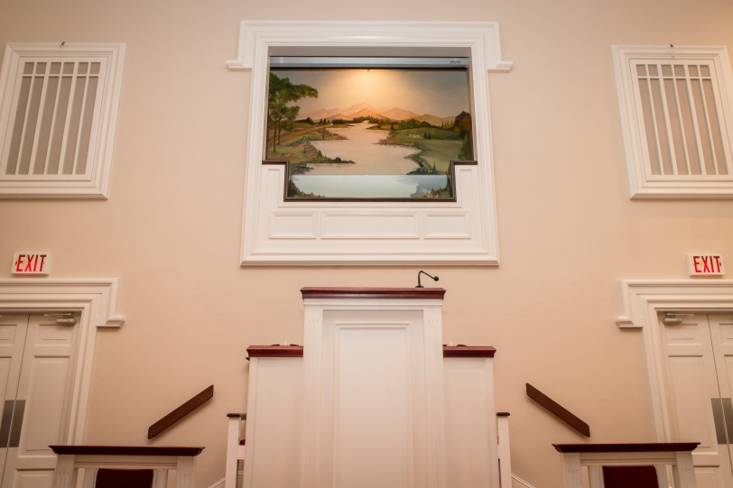 Jersey Baptist Church baptistry from the table